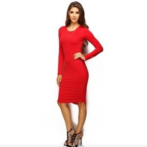 NEW RED MIDI DRESS SIZE LARGE  WANTMYLOOK